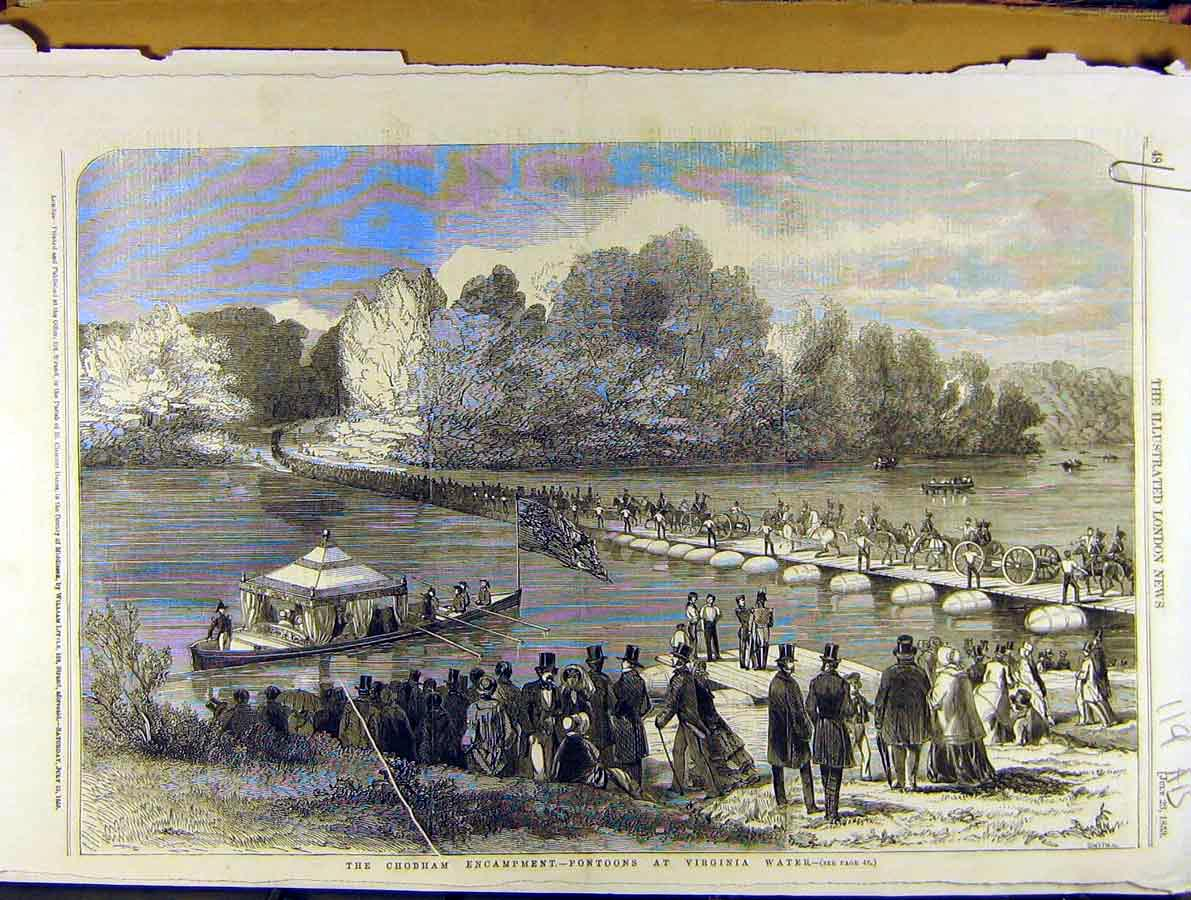 Print 1853 Chobham Pontoons Virginia-Water Military Windsor 19A8701 Old Original