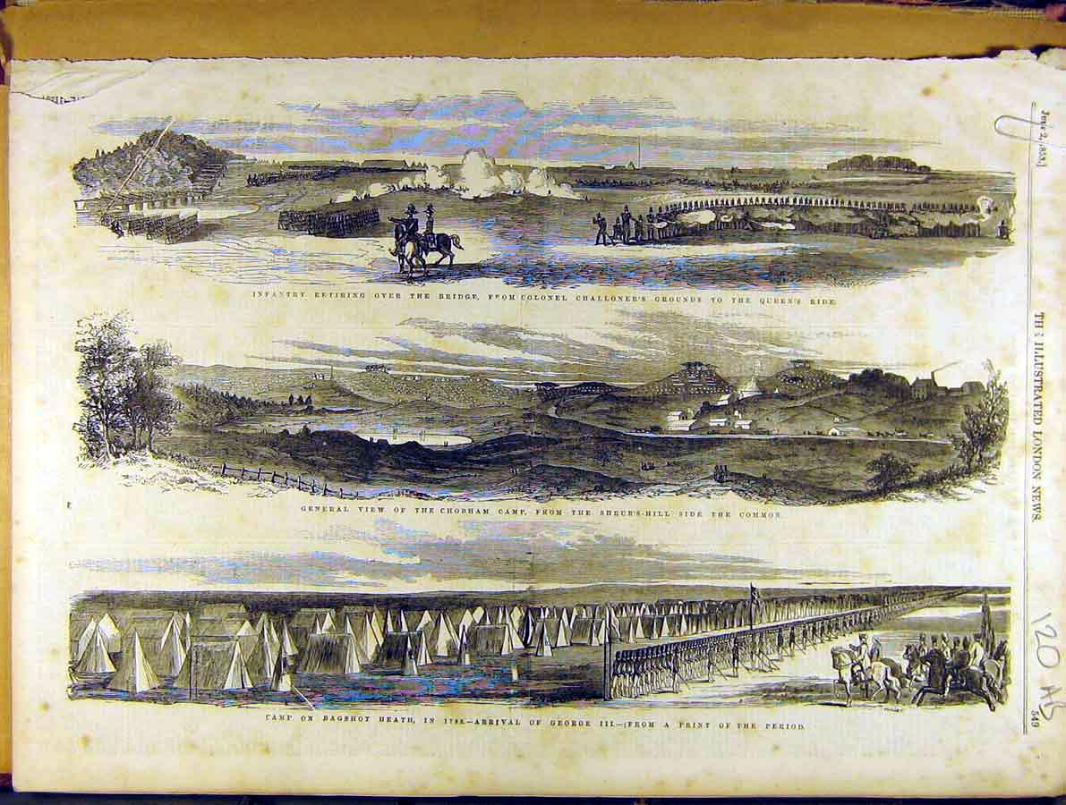 Print 1853 Military Infantry Bagshot Chobham Review 20A8701 Old Original