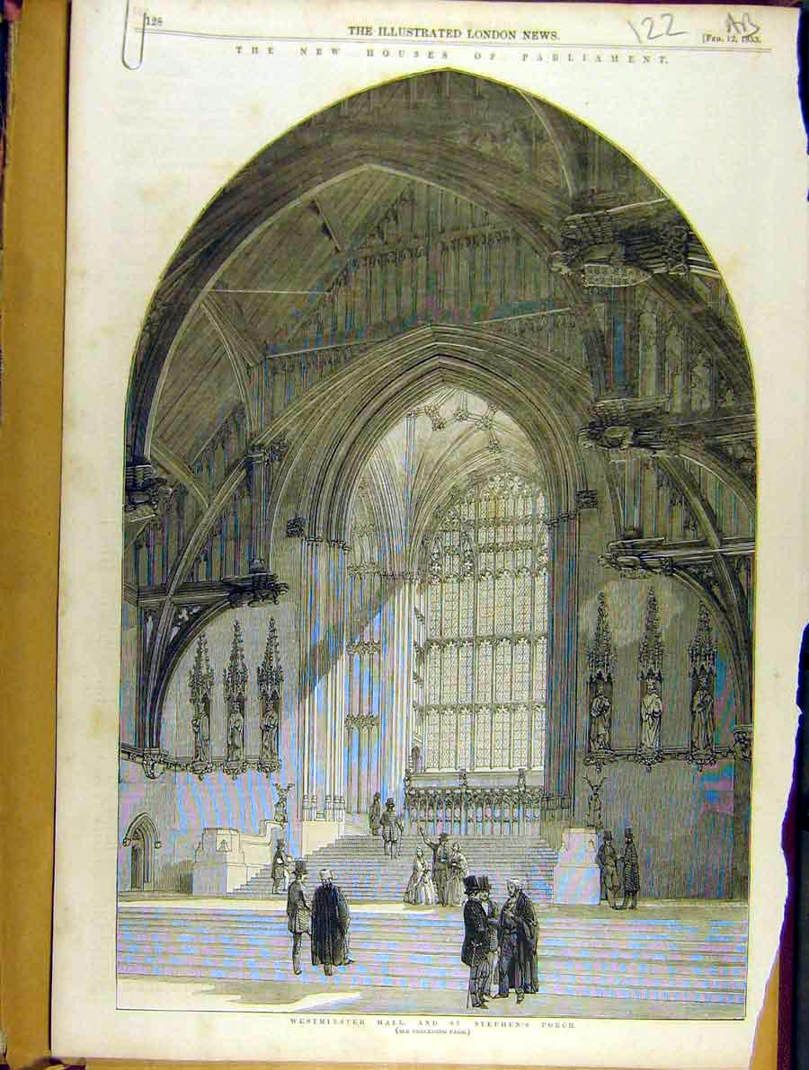 Print 1853 Houses-Parliament Westminster Hall St. Stephen'S 22A8701 Old Original