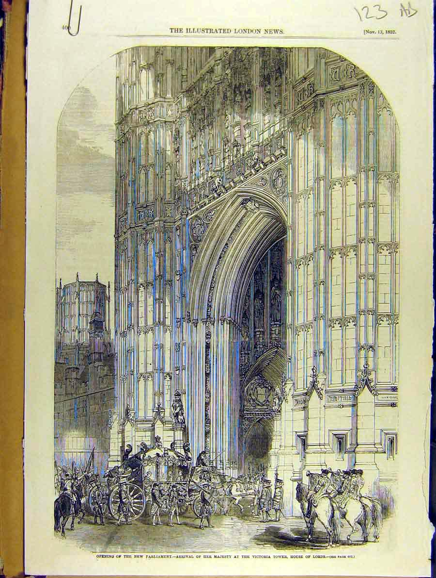 Print 1852 Parliament Queen House-Lords Palace Westminster 23A8701 Old Original