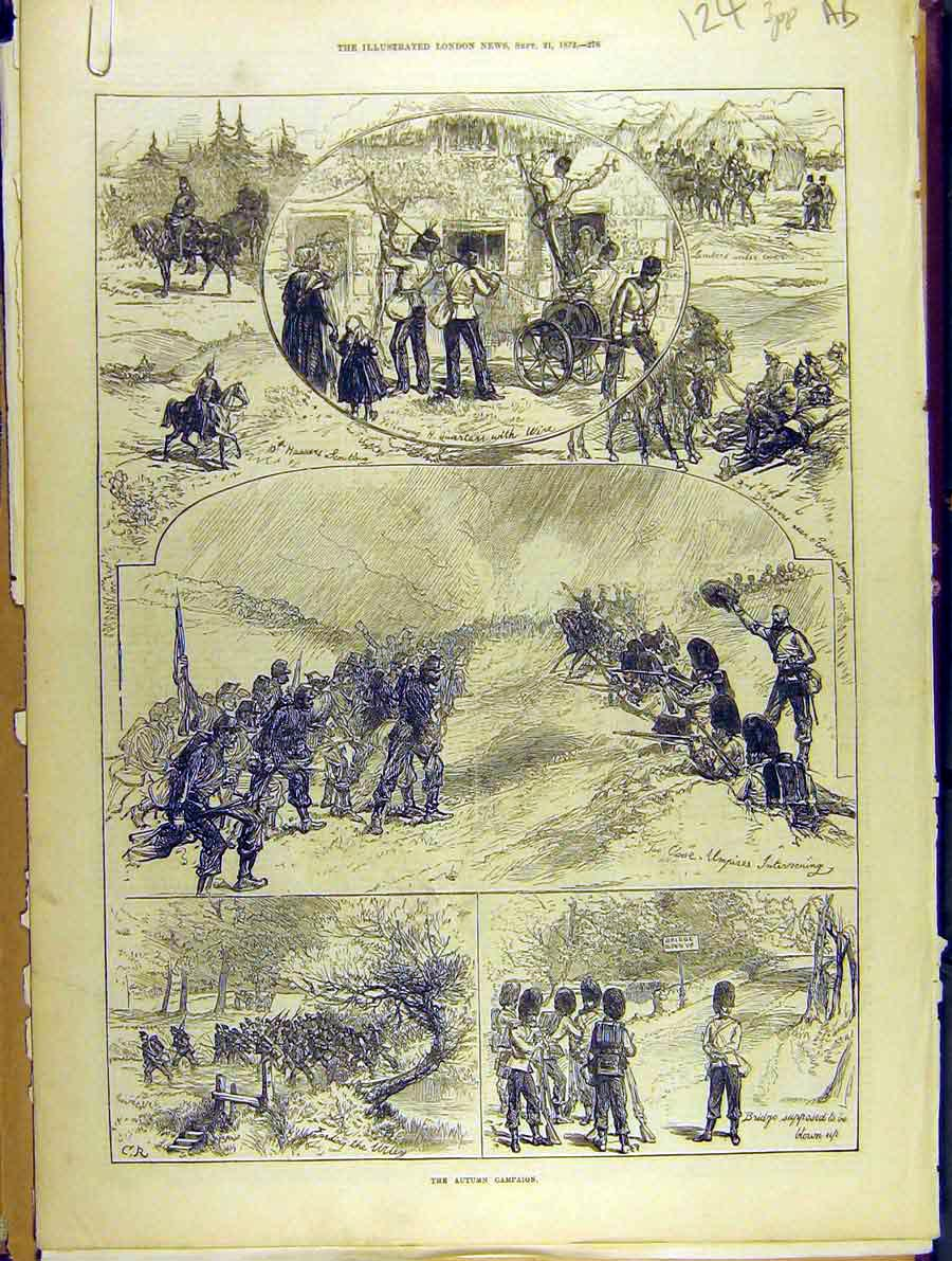 Print 1872 Autumn Campaign Military Troops Sketches 24A8701 Old Original