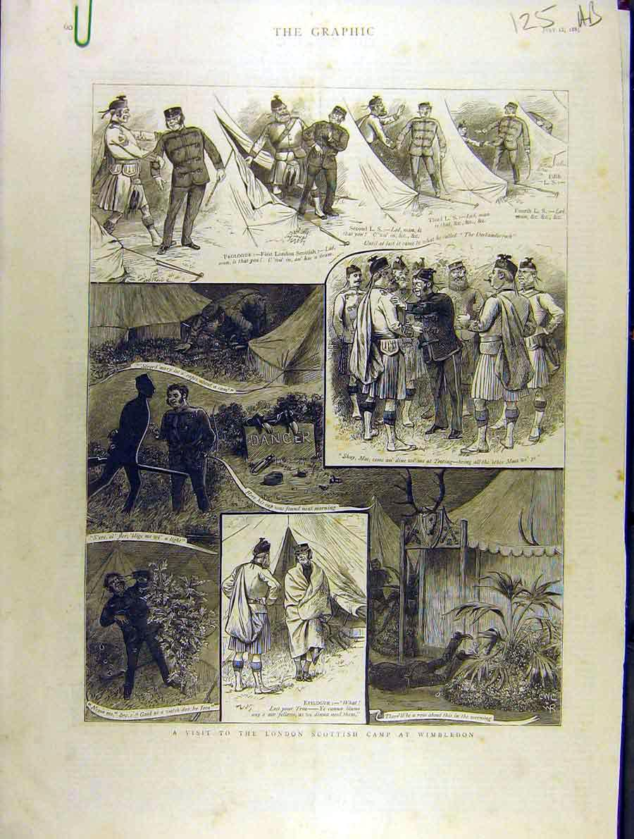 Print 1885 London-Scottish Camp Wimbledon Military Volunteers 25A8701 Old Original
