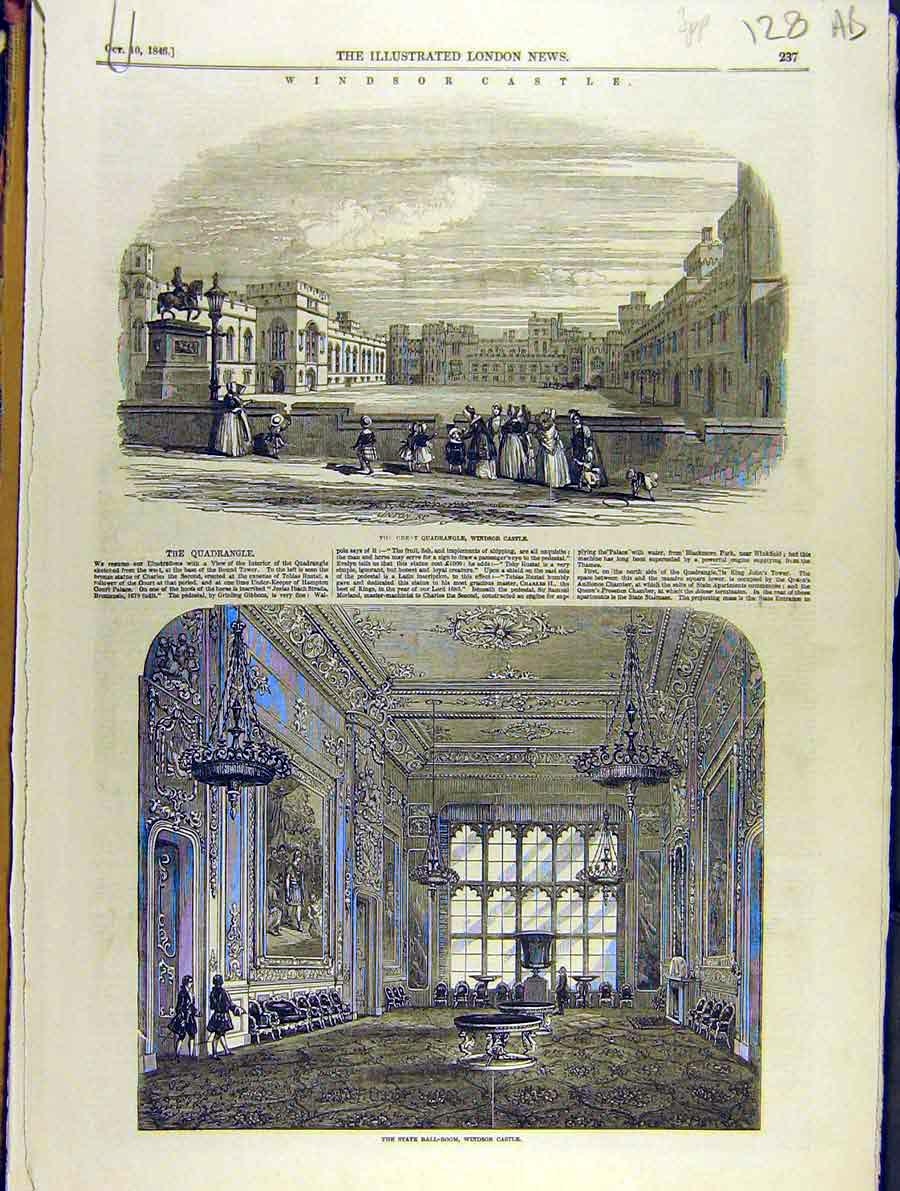 Print 1846 Windsor Castle State Ball-Room Quadrangle Tower 28A8701 Old Original