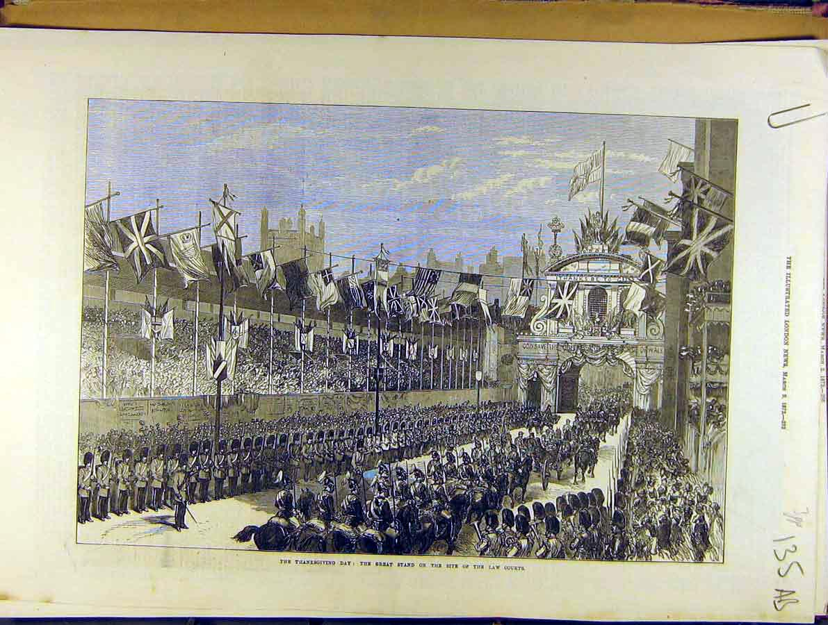Print 1872 Law Court Temple-Bar Procession Thanksgiving 35A8701 Old Original
