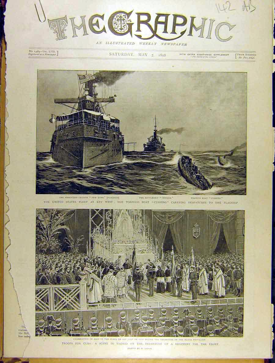 Print 1898 United States Fleet Troops Cuba Spanish American 42A8701 Old Original