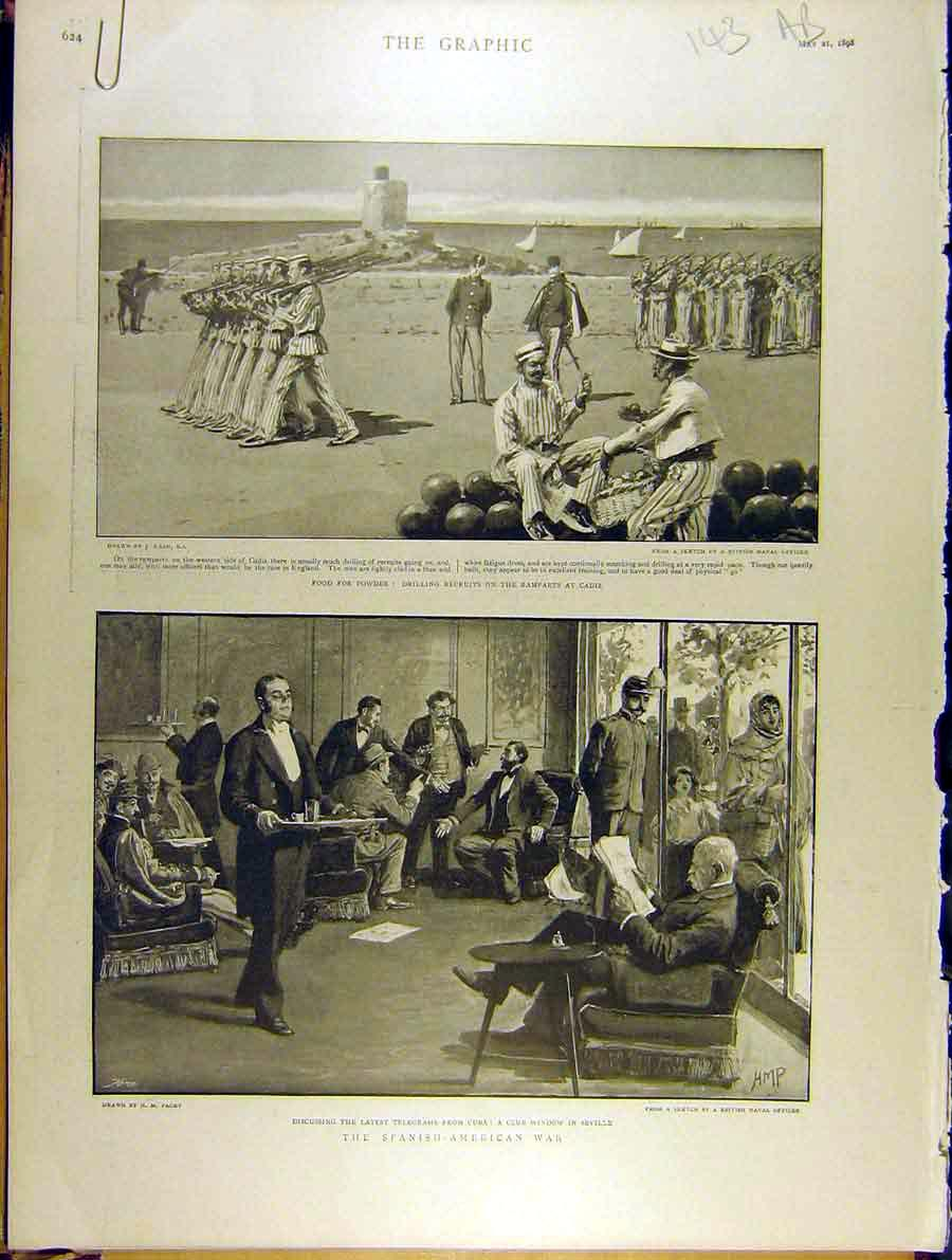 Print 1898 Spanish-American War Cadiz Tampa Florida 43A8701 Old Original