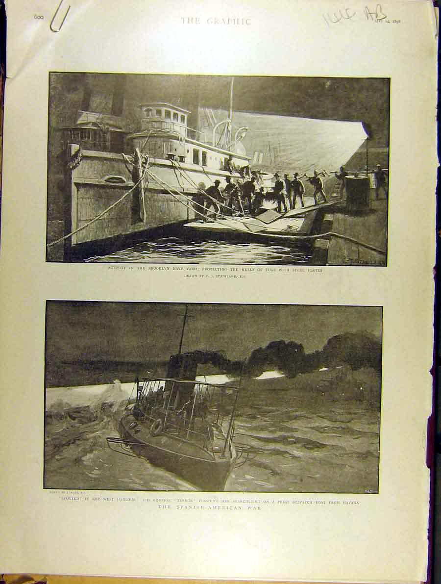 Print 1898 Brooklyn Navy Yard Spanish American War Soldiers 44A8701 Old Original