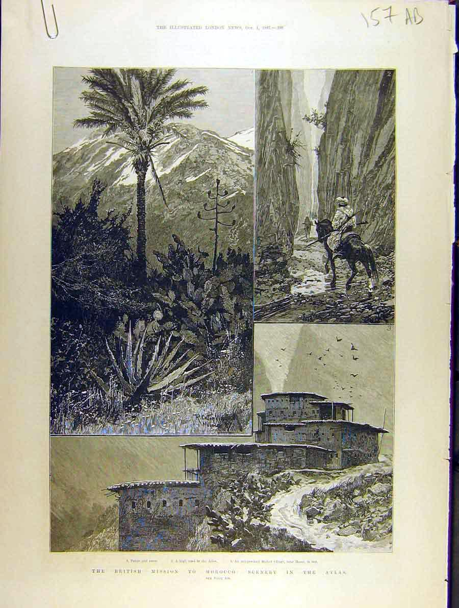 Print 1887 British Mission Morocco Atlas Mountains Sport 57A8701 Old Original