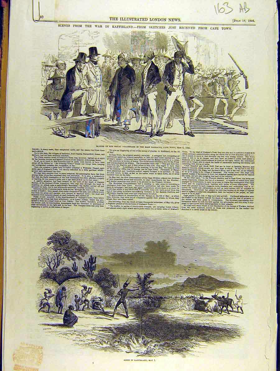 Print 1846 War Africa Kaffir Malay Bambrick Cape-Town 63A8701 Old Original