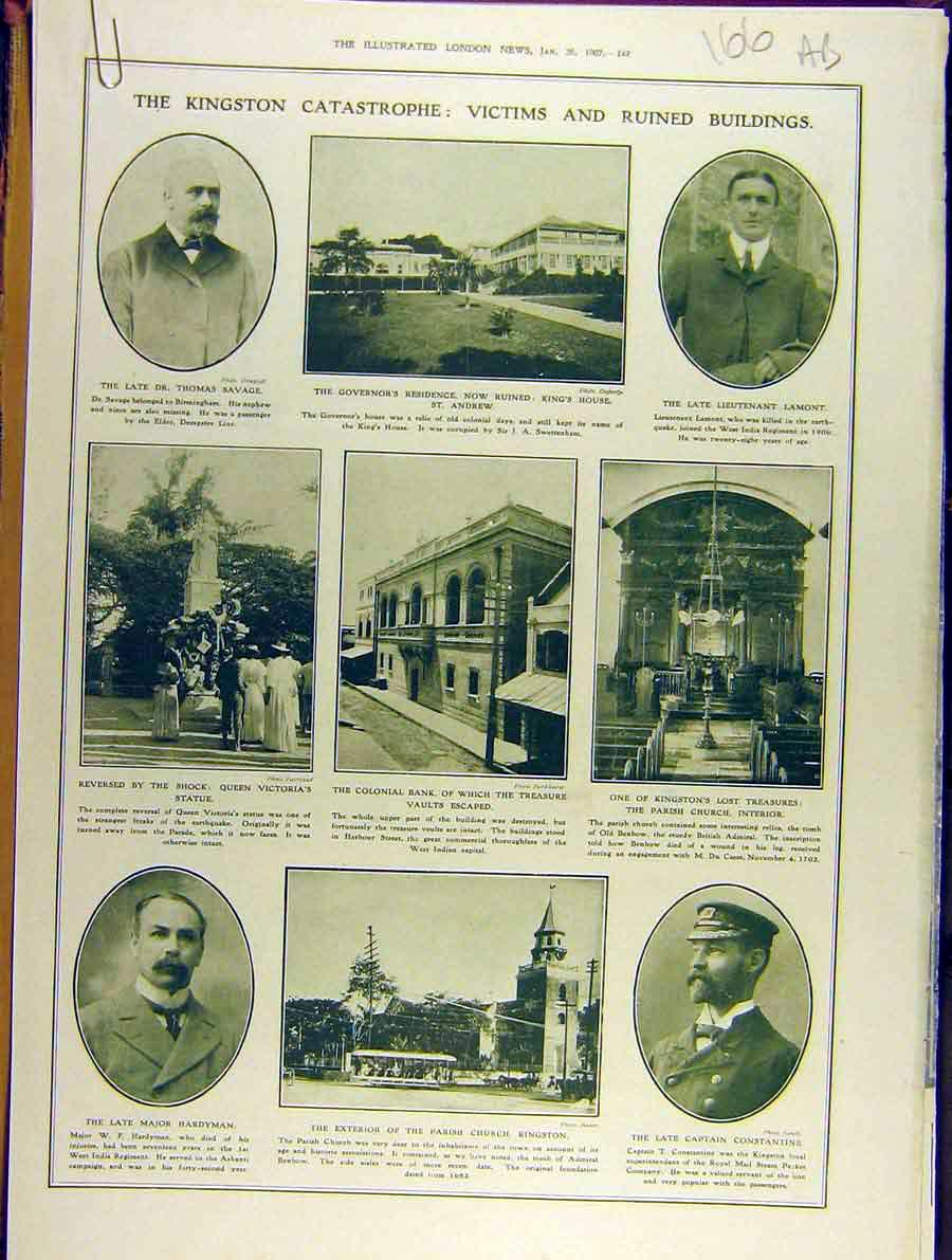 Print 1907 Kingston Catastrophe Victims Ruins West-India 66A8701 Old Original