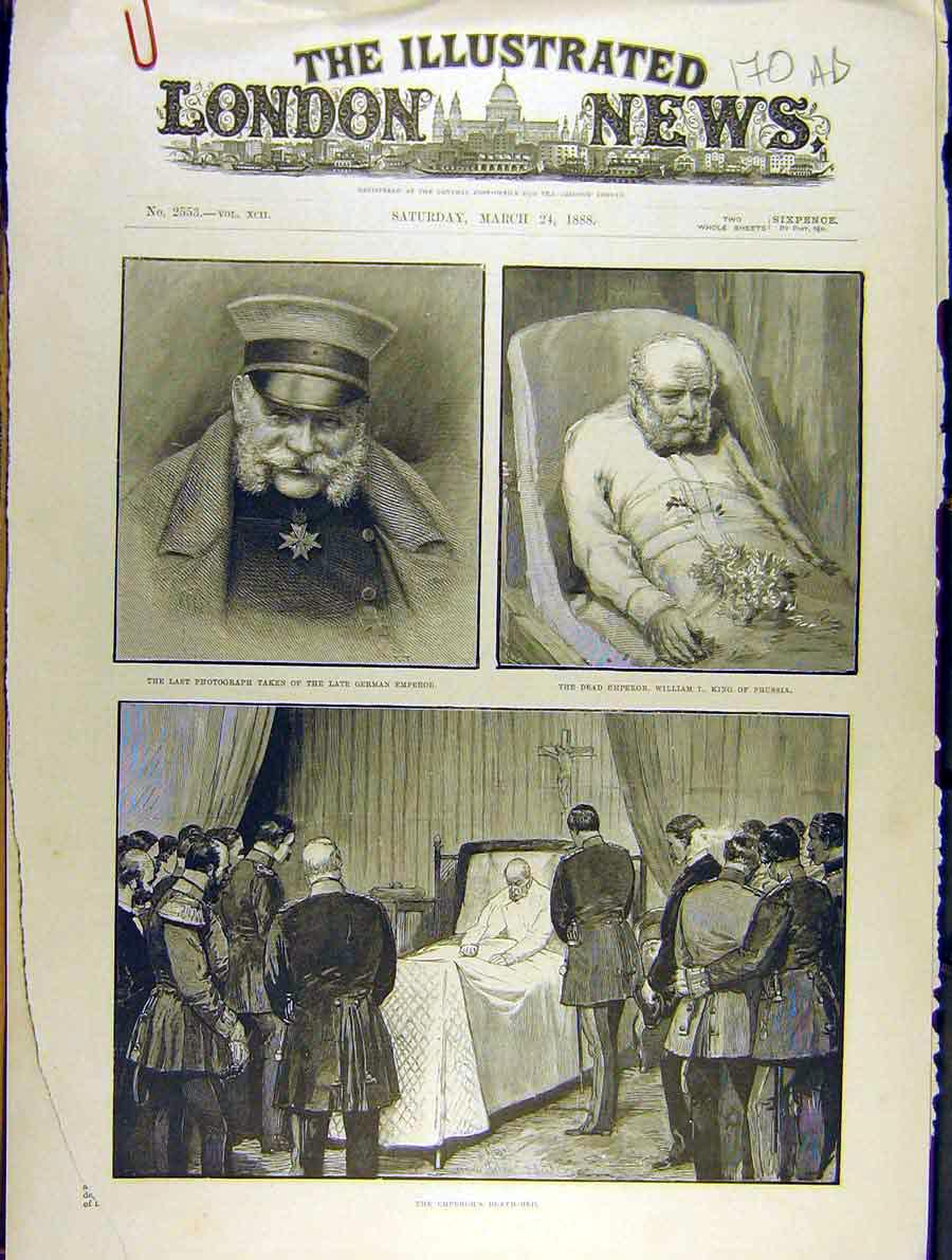 Print 1888 German Emperor William King Prussia Funeral 70A8701 Old Original