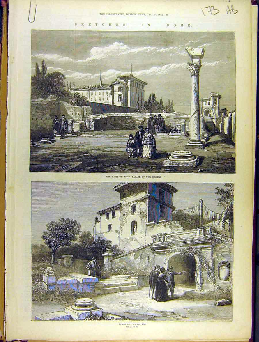 Print 1872 Sketches Rome Basilica Tombs Scipios Caesars 73A8701 Old Original