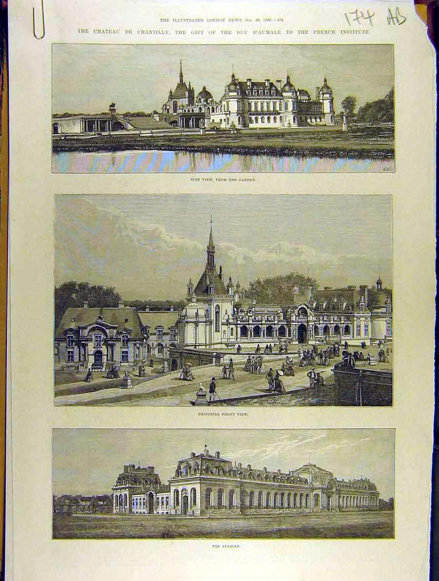 Print 1886 Chateau-De-Chantilly French Institute Aumale 74A8701 Old Original