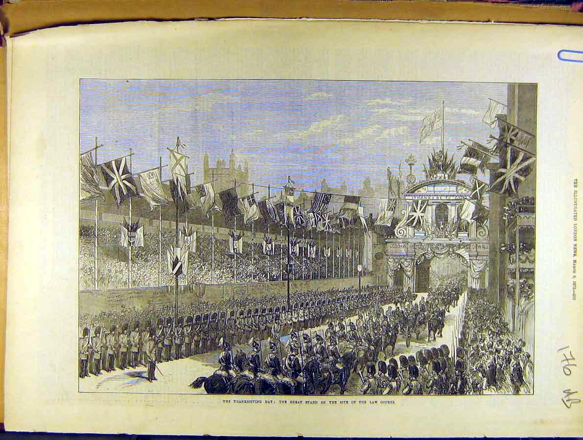 Print 1872 Law-Courts Thanksgiving Church Procession 76A8701 Old Original