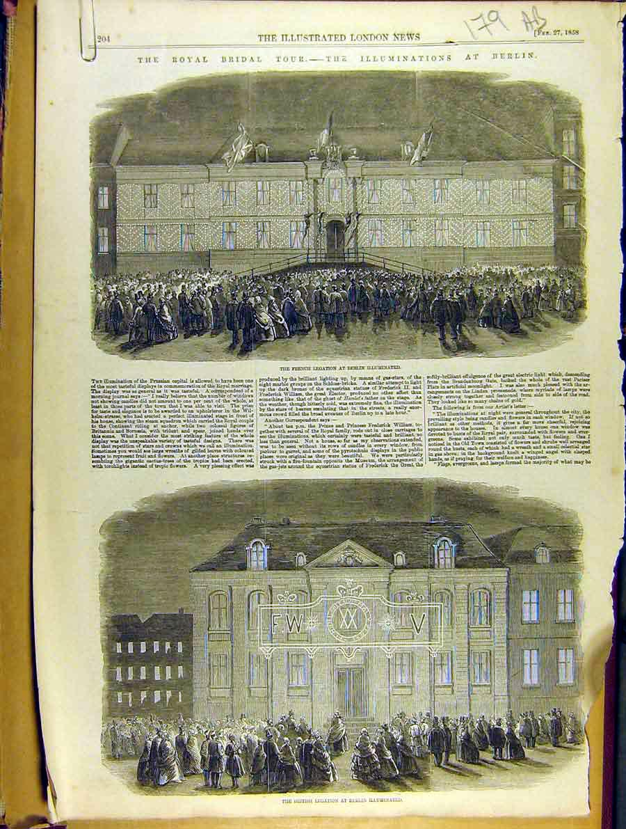 Print 1858 Royal Bridal Tour Berlin British Legation Fountain 79A8701 Old Original