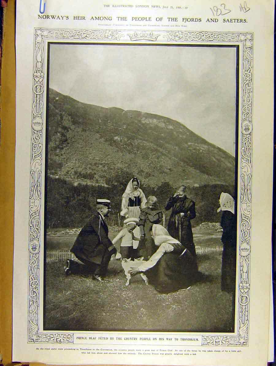 Print 1906 Norway Prince Olaf Trondhjem Children 83A8701 Old Original