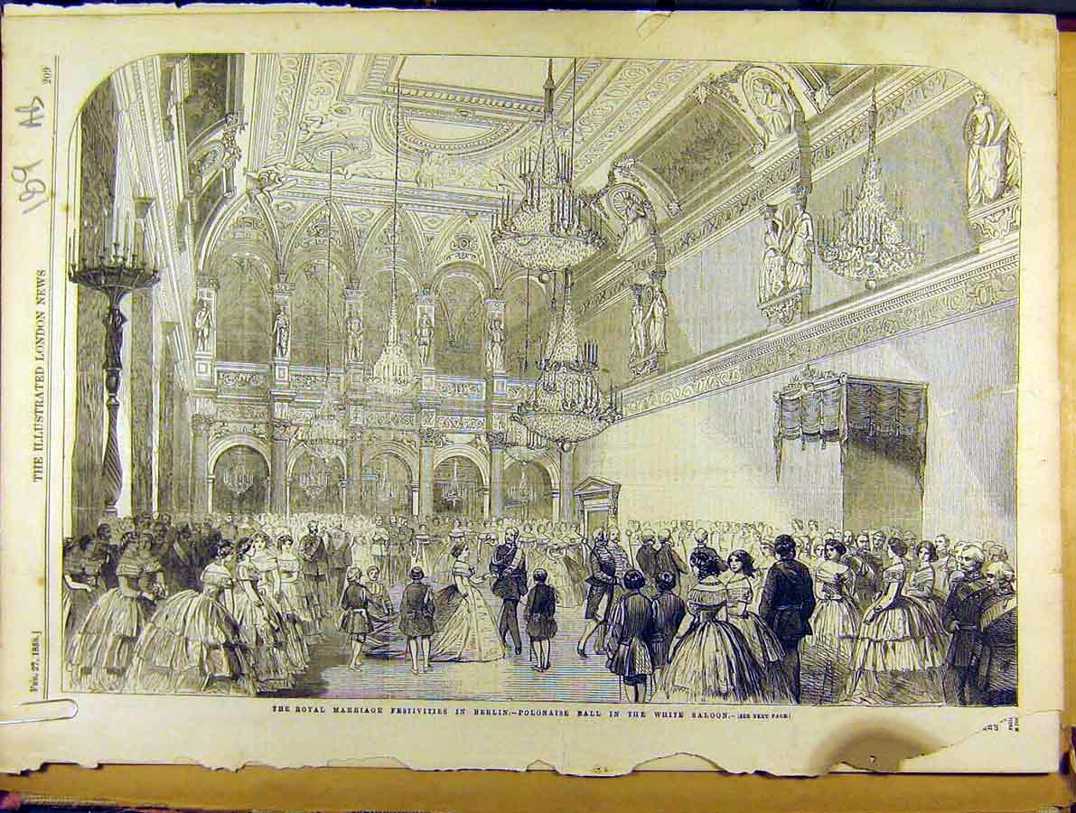 Print 1858 Royal Marriage Berlin Ball Frederick-William 89A8701 Old Original