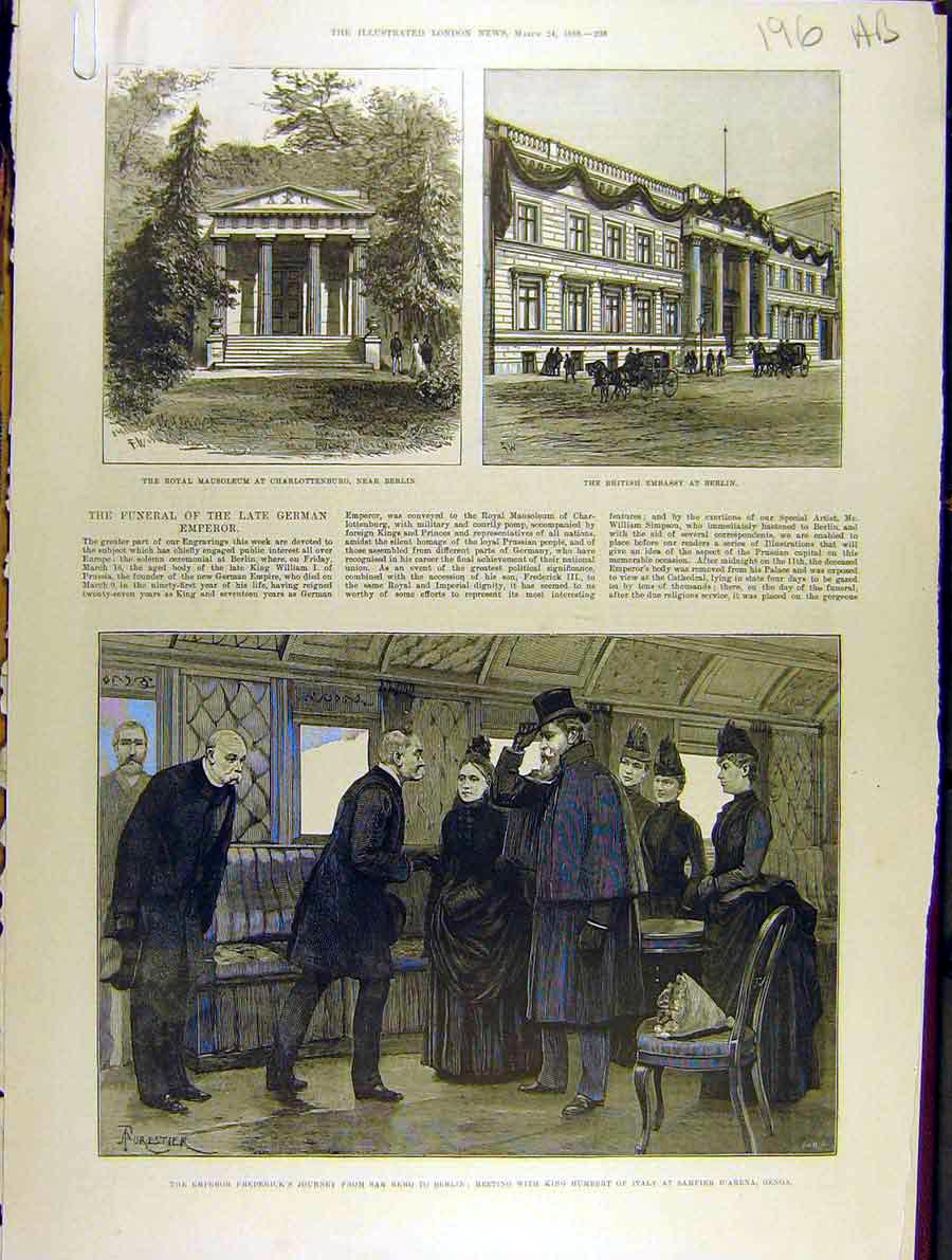 Print 1888 Mausoleum Charlottenburg Berlin Embassy Emperor 96A8701 Old Original
