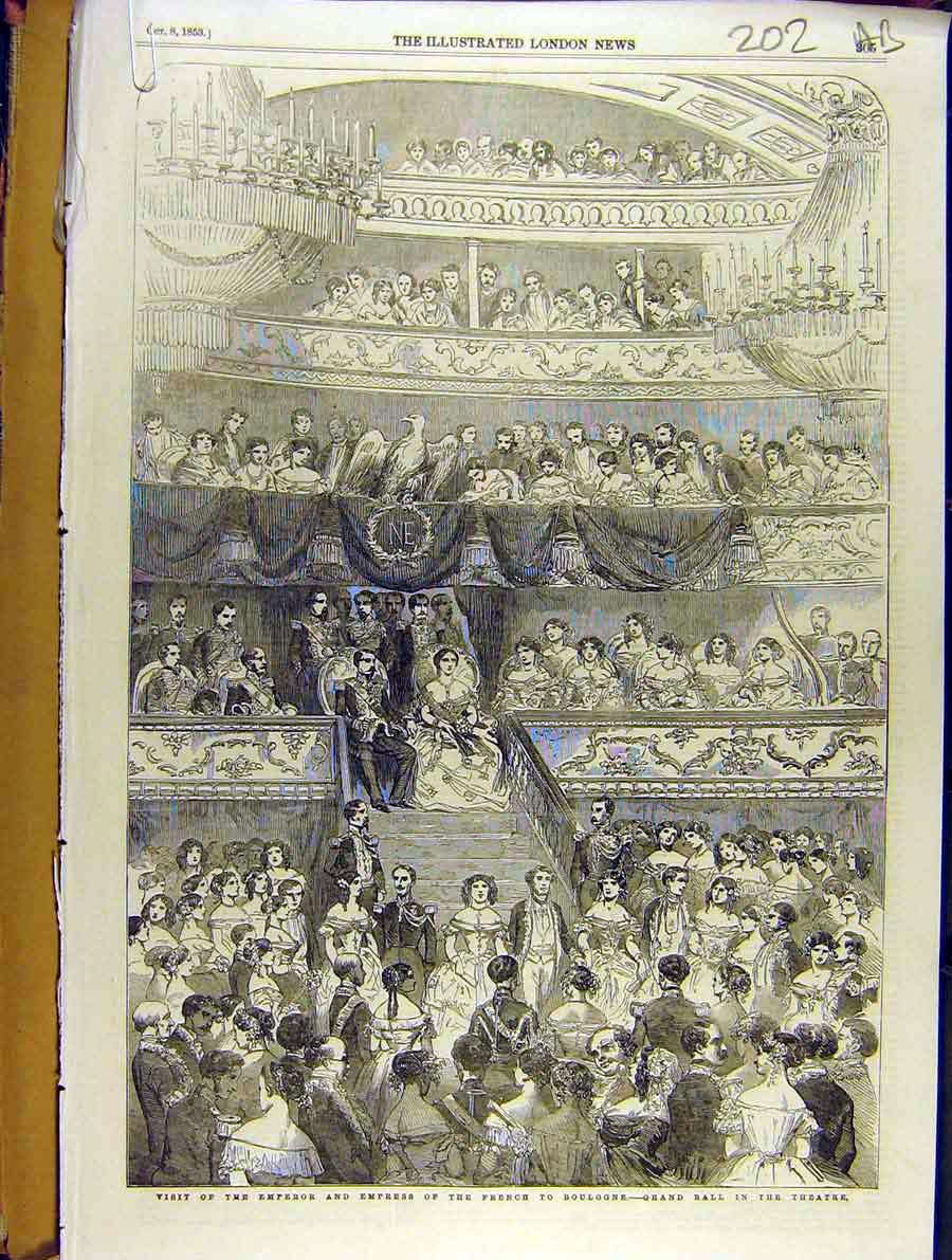 Print 1853 Emperor Empress French France Boulogne Theatre 02A8701 Old Original