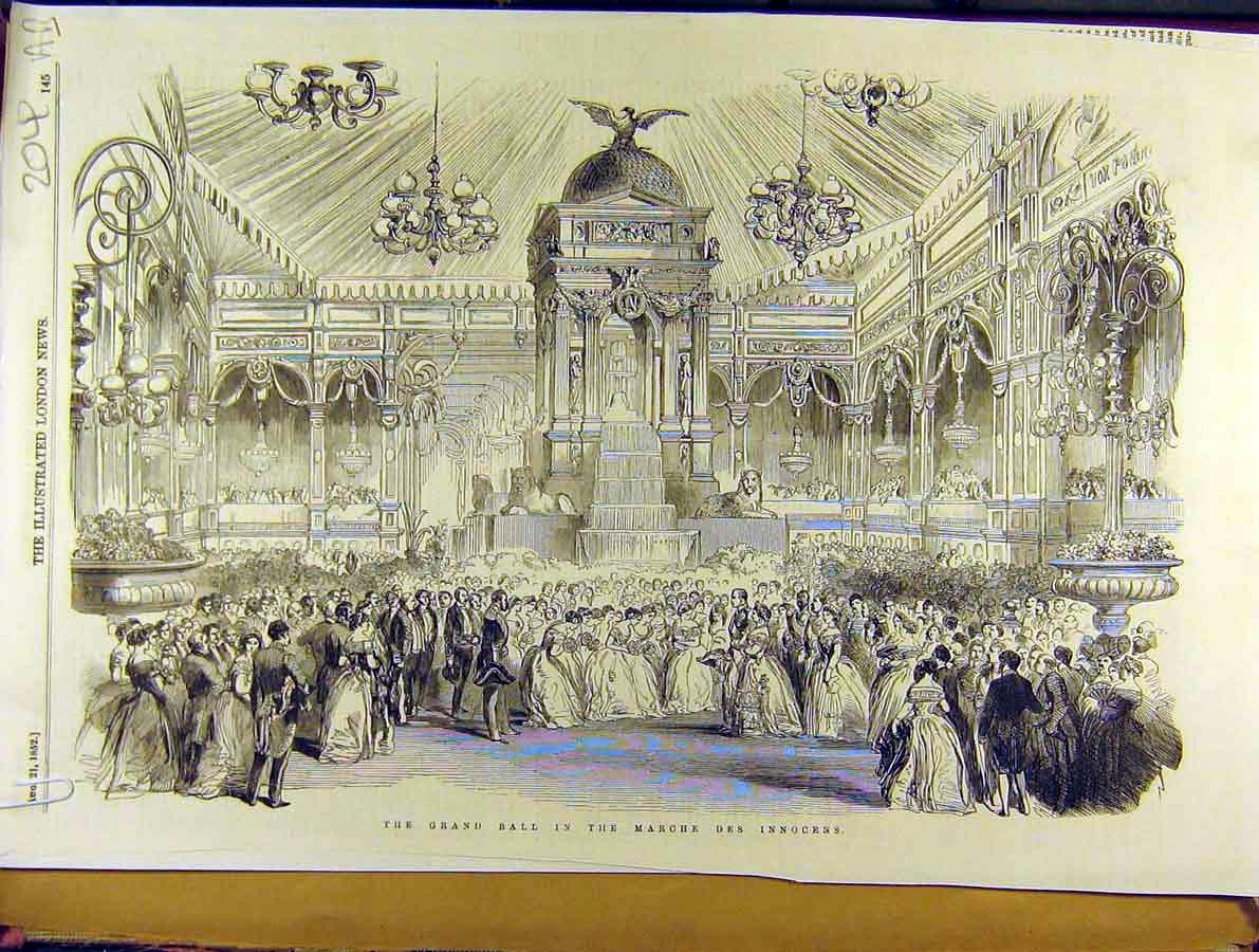 Print 1852 Grand-Ball Marche-Des-Innocens Fireworks Concorde 04A8701 Old Original