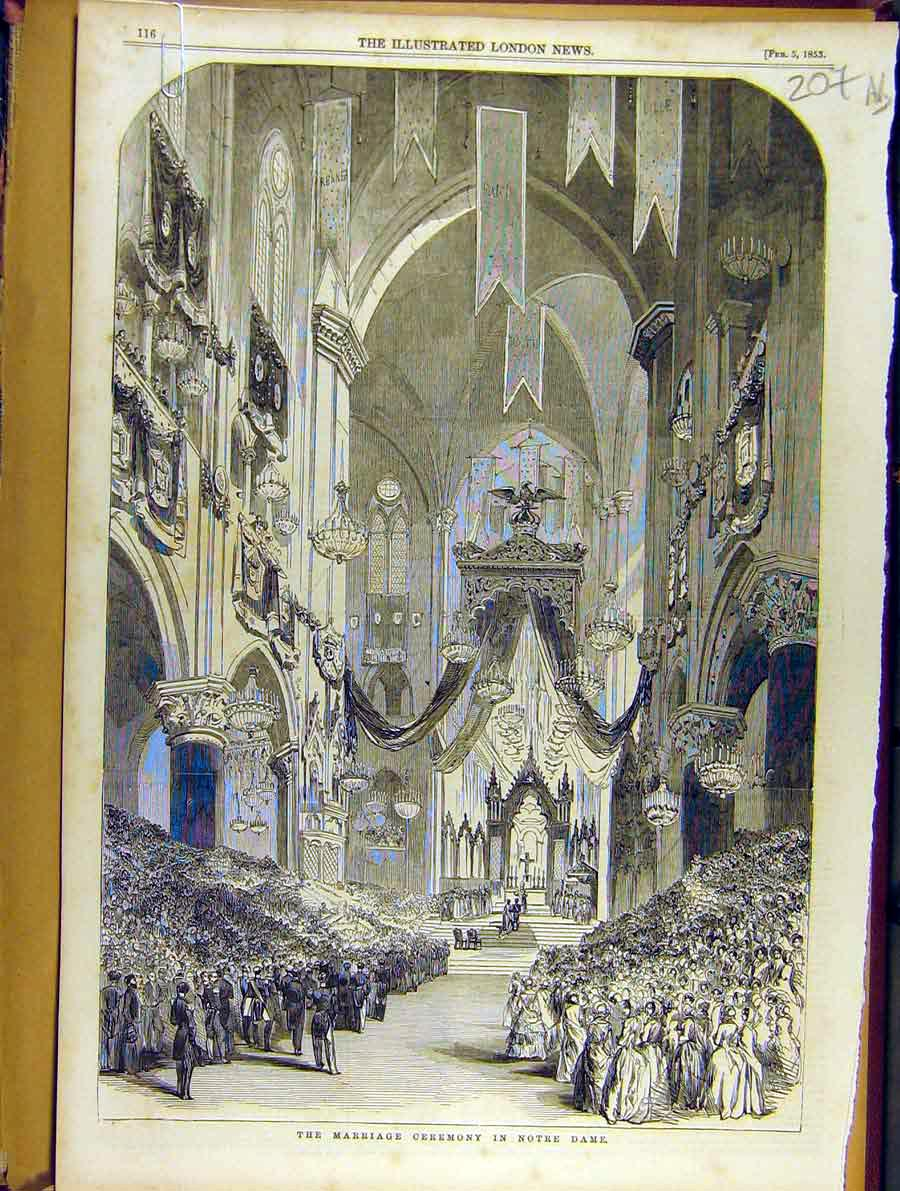 Print 1853 Marriage Ceremony Notre Dame Altar Cathedral 07A8701 Old Original