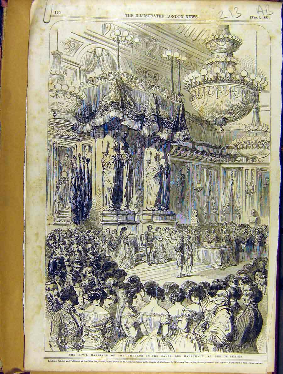 Print 1853 Civil Marriage Emperor Salle Des Marechaux 13A8701 Old Original