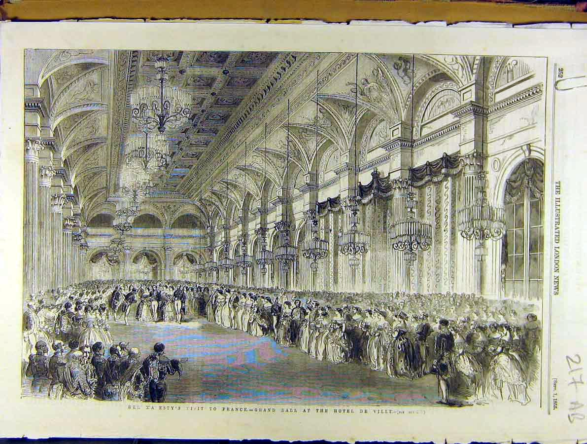 Print 1855 Royal Visit France Ball Hotel De Ville Paris 17A8701 Old Original