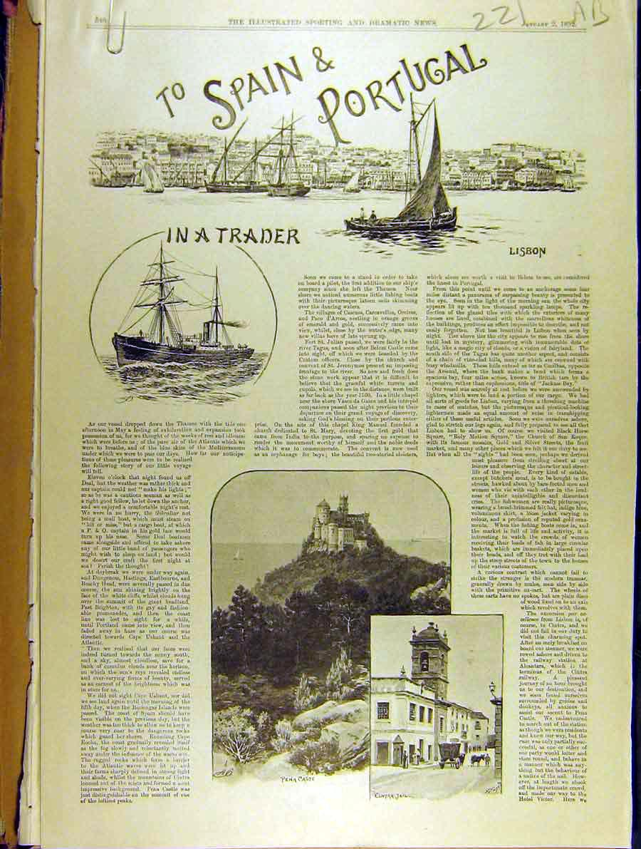 Print 1892 Spain Portugal Travel Trade Ship Malaga Valencia 21A8701 Old Original