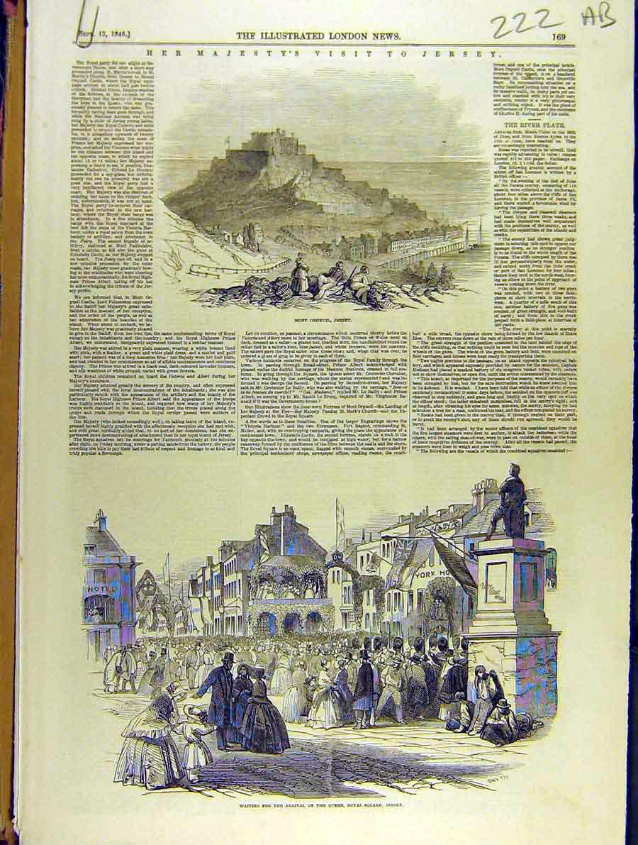 Print 1846 Royal Square Visit Jersey Queen Victoria Pier 22A8701 Old Original