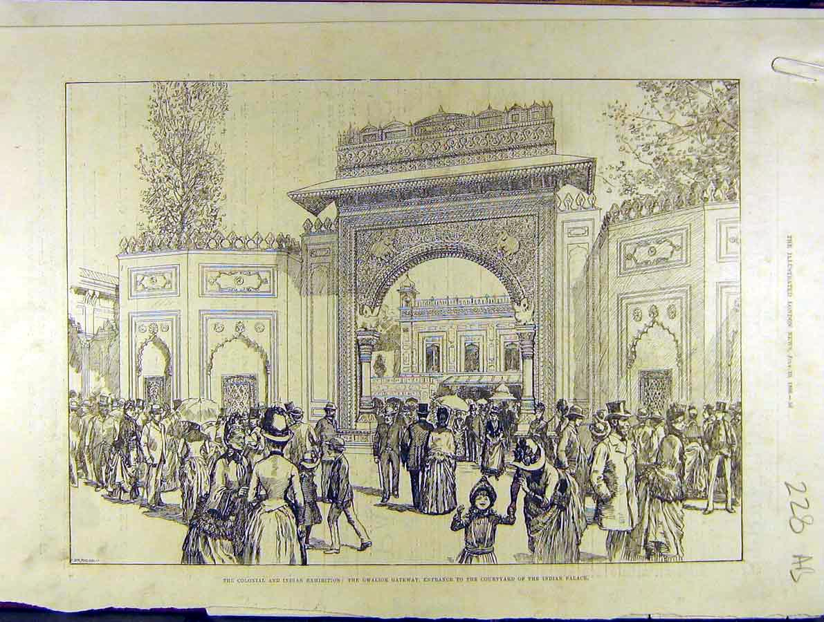 Print 1886 Indian Exhibition Gwalior Gateway Fashion 28A8701 Old Original