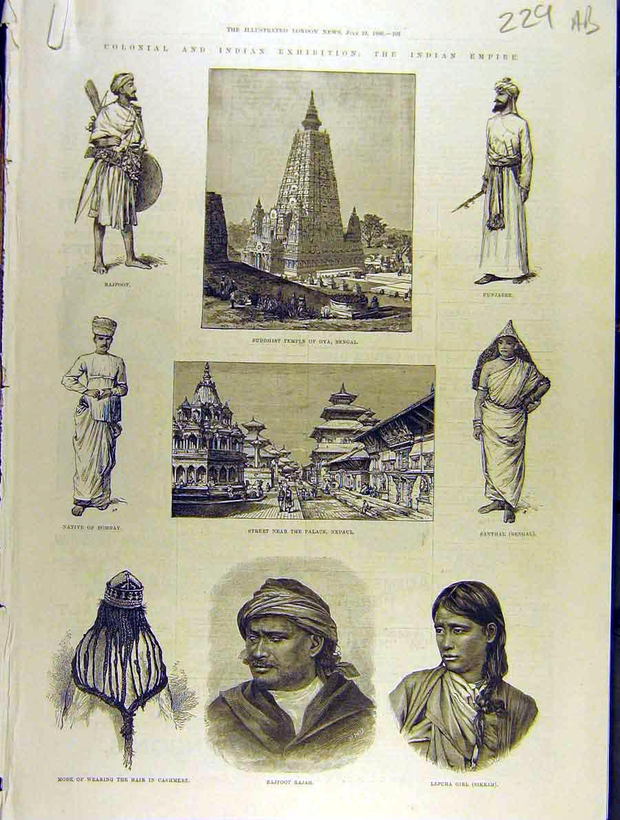 Print 1886 Buddhist Temple Gya Nepaul Bengal Fashion Indian 29A8701 Old Original