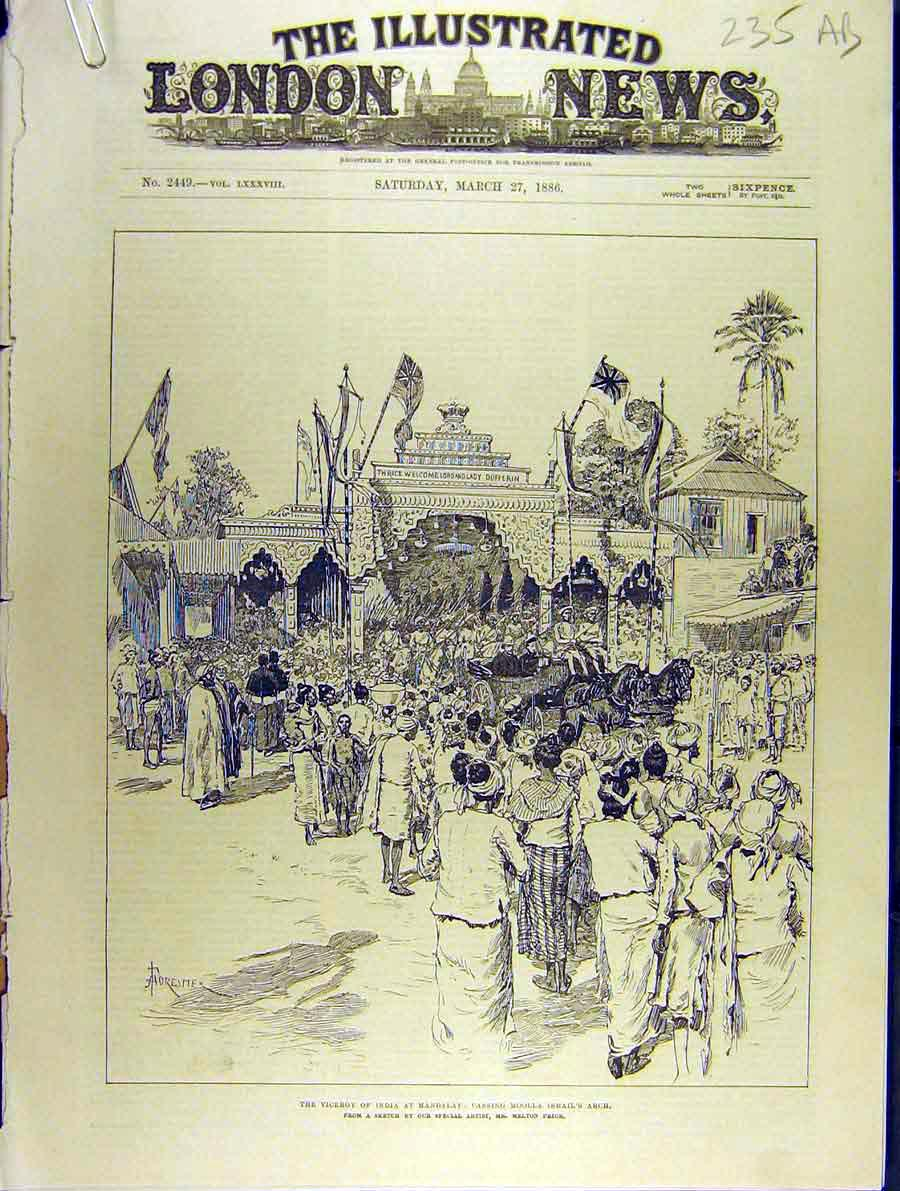 Print 1886 Viceroy India Mandalay Dufferin Moolla Ismail Arch 35A8701 Old Original