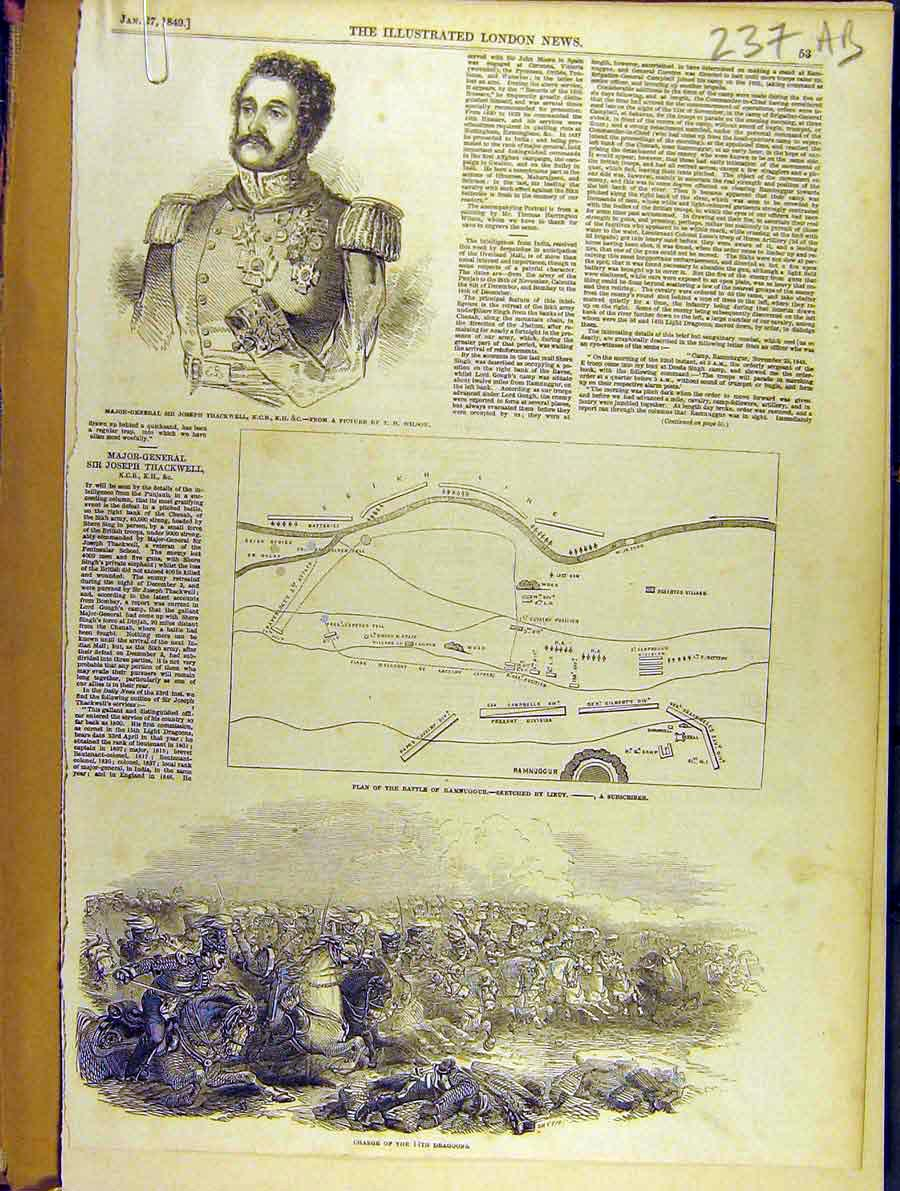 Print 1849 Portrait Thackwell Map Battle Ramnugger Pullah 37A8701 Old Original