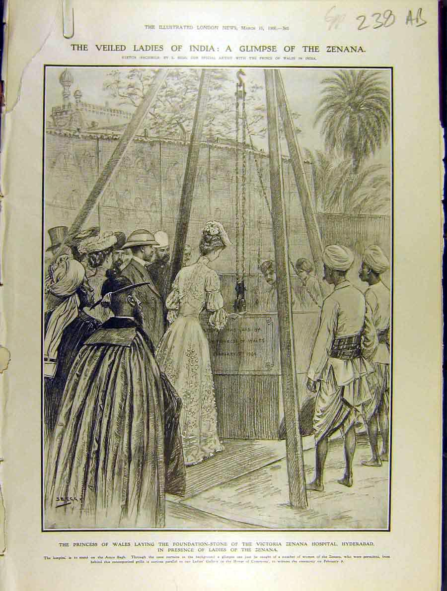 Print 1906 Princess Wales India Visit Royal Zenana Jungle 38A8701 Old Original