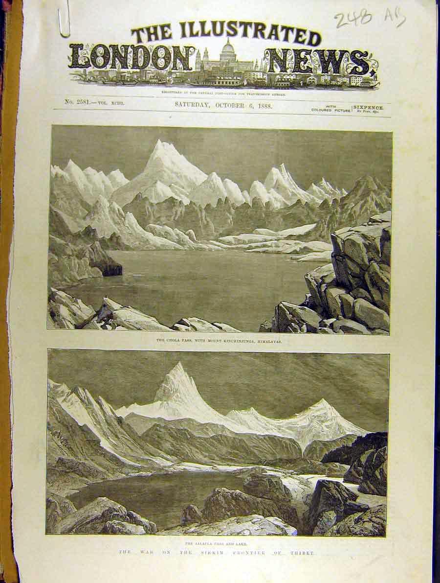 Print War Sikkim Frontier Thibet Yakla Pass Lake Gnatong 48A8701 Old Original
