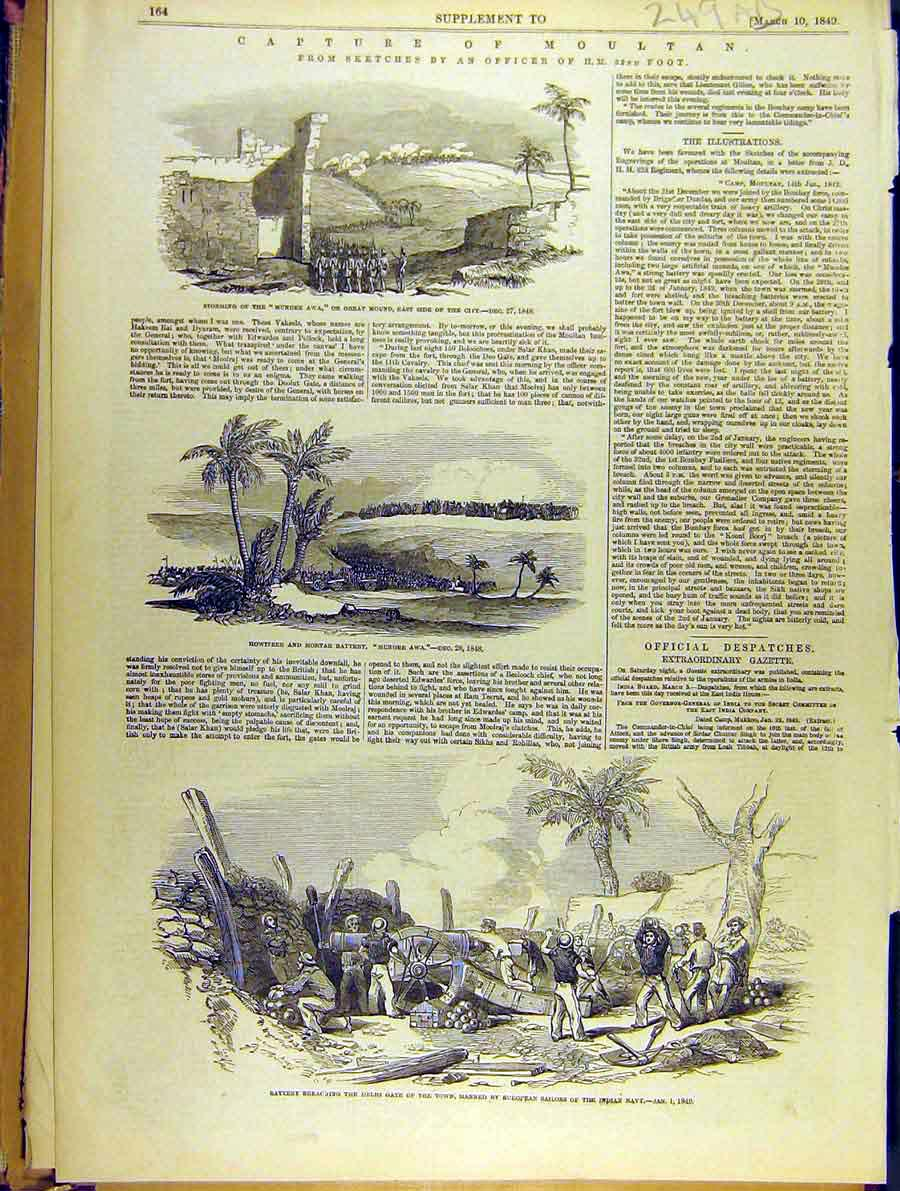 Print Capture Moultan Mundee Awa 32Nd Foot Cannon 49A8701 Old Original