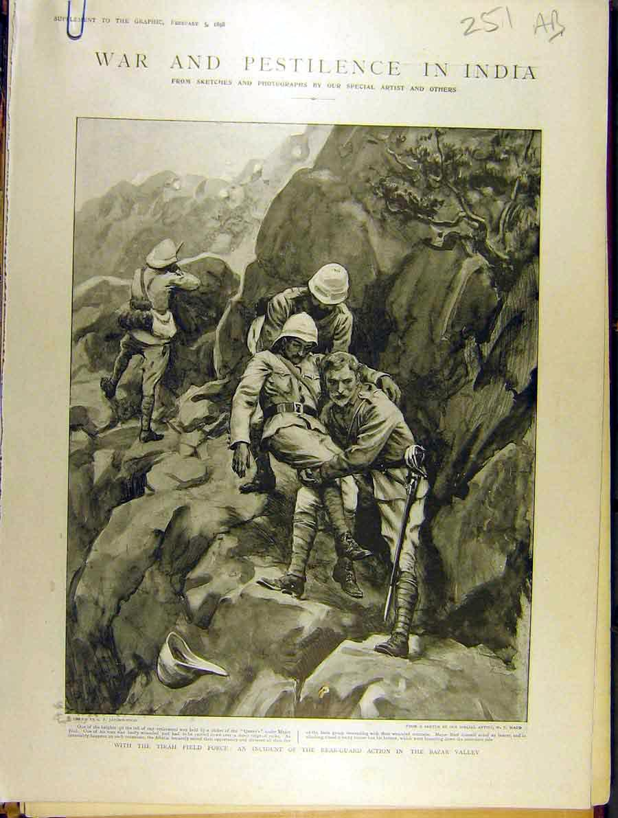 Print 1898 India War Bazar Valley Soldier Tirah Expedition 51A8701 Old Original