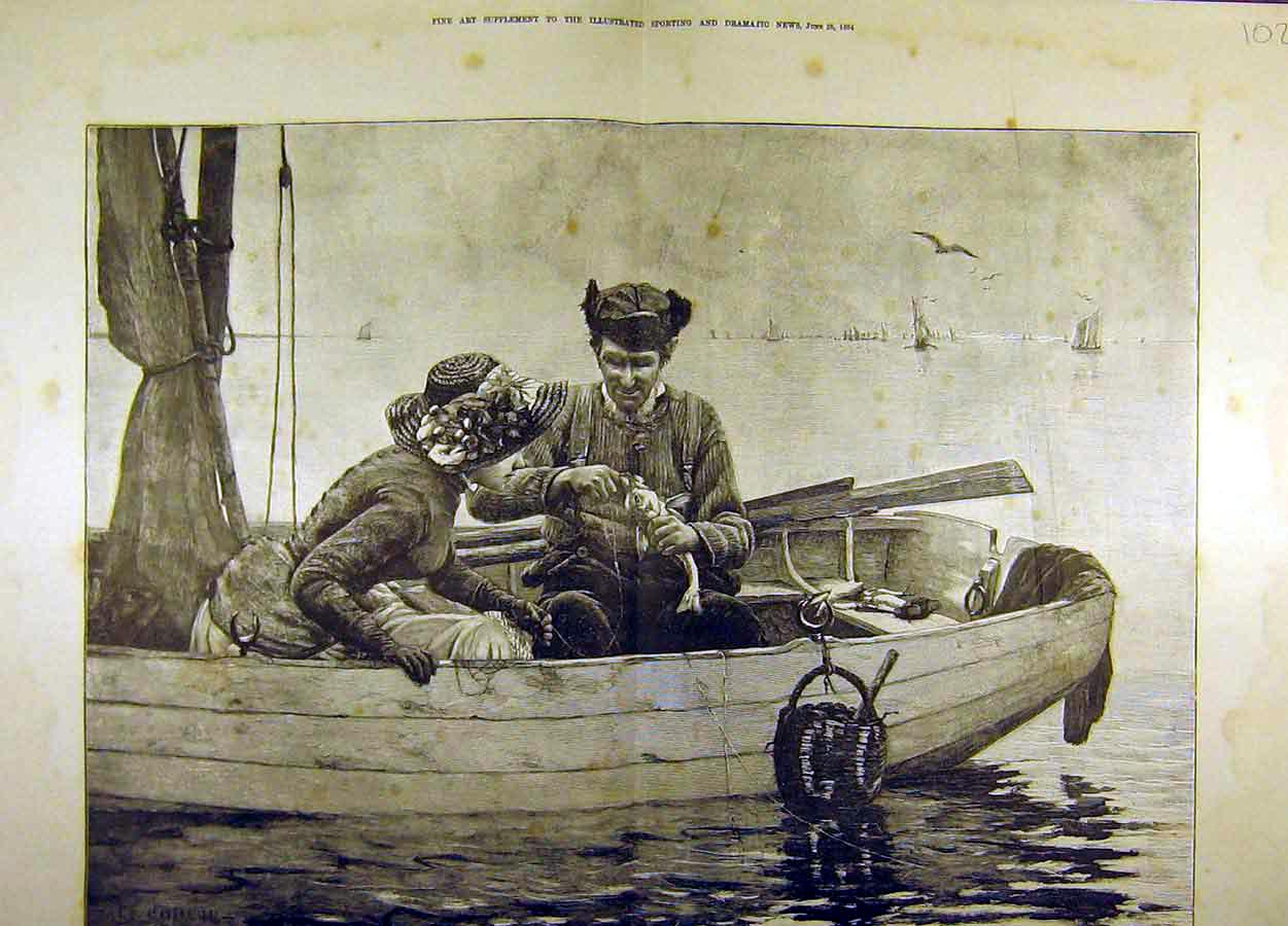 Print 1884 Painting Guillou Fishing Lesson Lady Boat 02T8711 Old Original