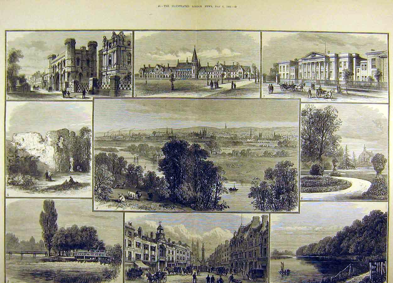 Print 1882 Reading England Views Abbey Hospital Forbury 10T8711 Old Original