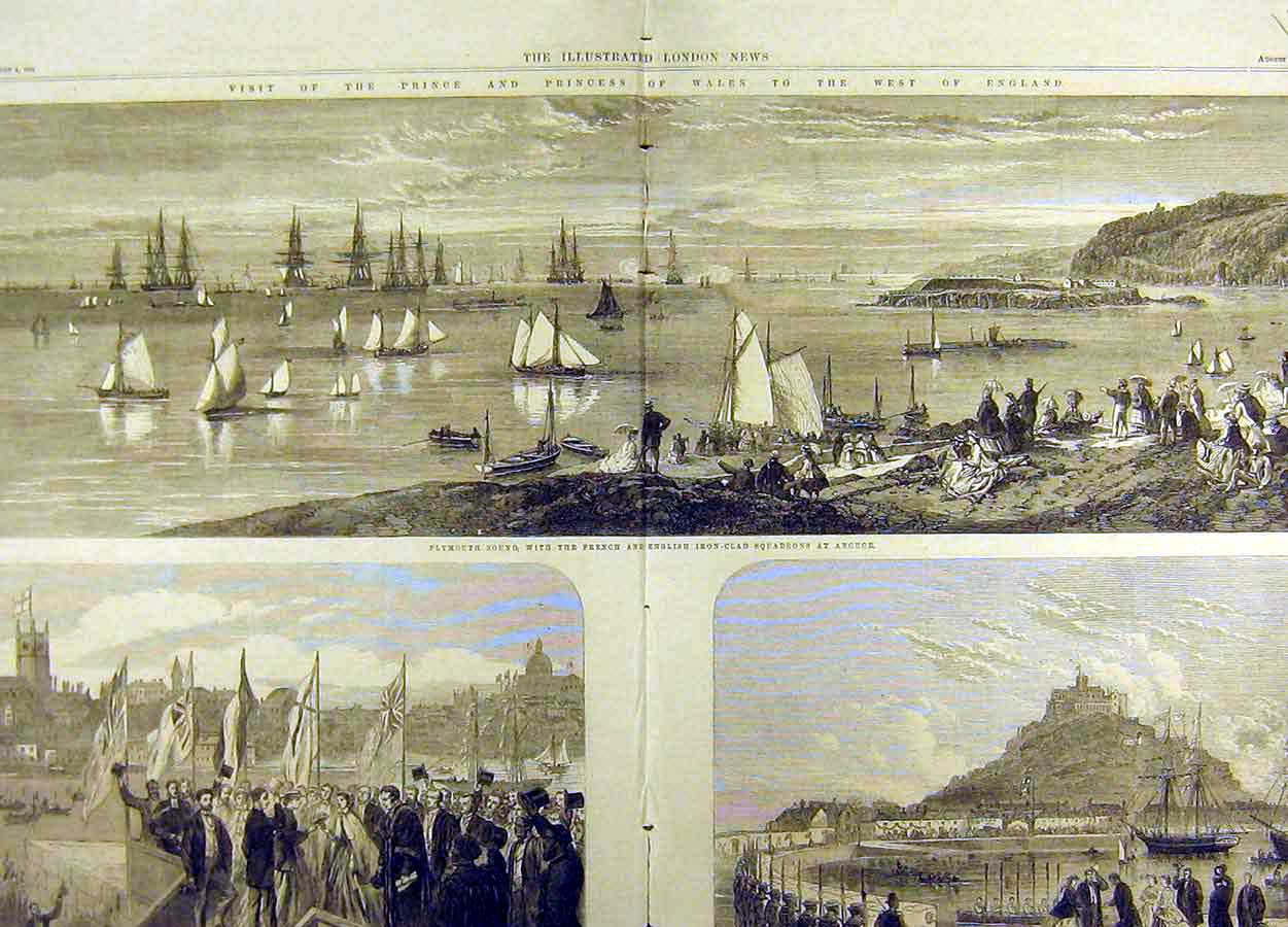 Print 1865 Prince Wales Visit Penzance Plymouth Fleet 16T8711 Old Original