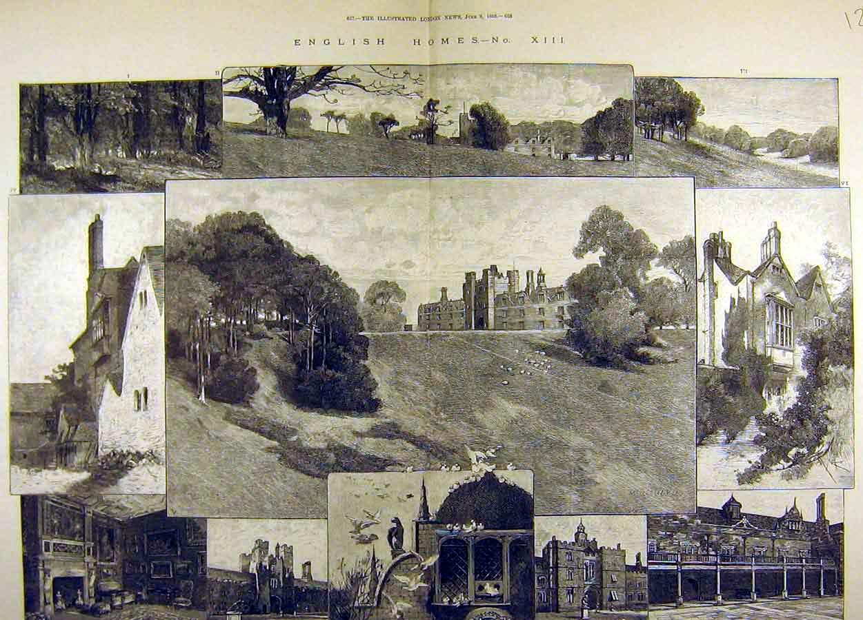 Print 1888 Knole Lord Sackville Estate Chapel Hall Park 27T8711 Old Original
