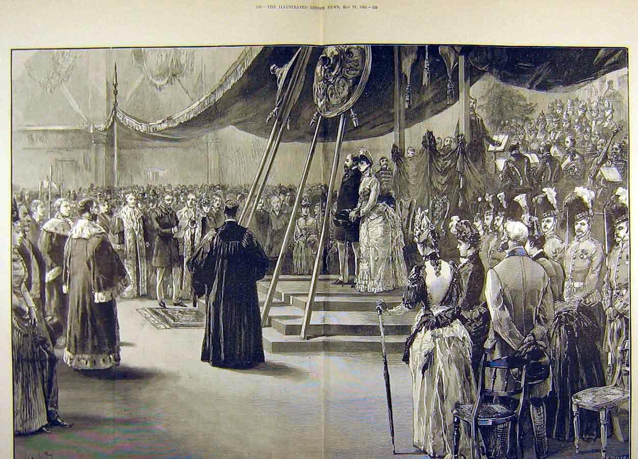 Print 1888 Prince Princess Wales Glasgow Exhibition Royal 29T8711 Old Original