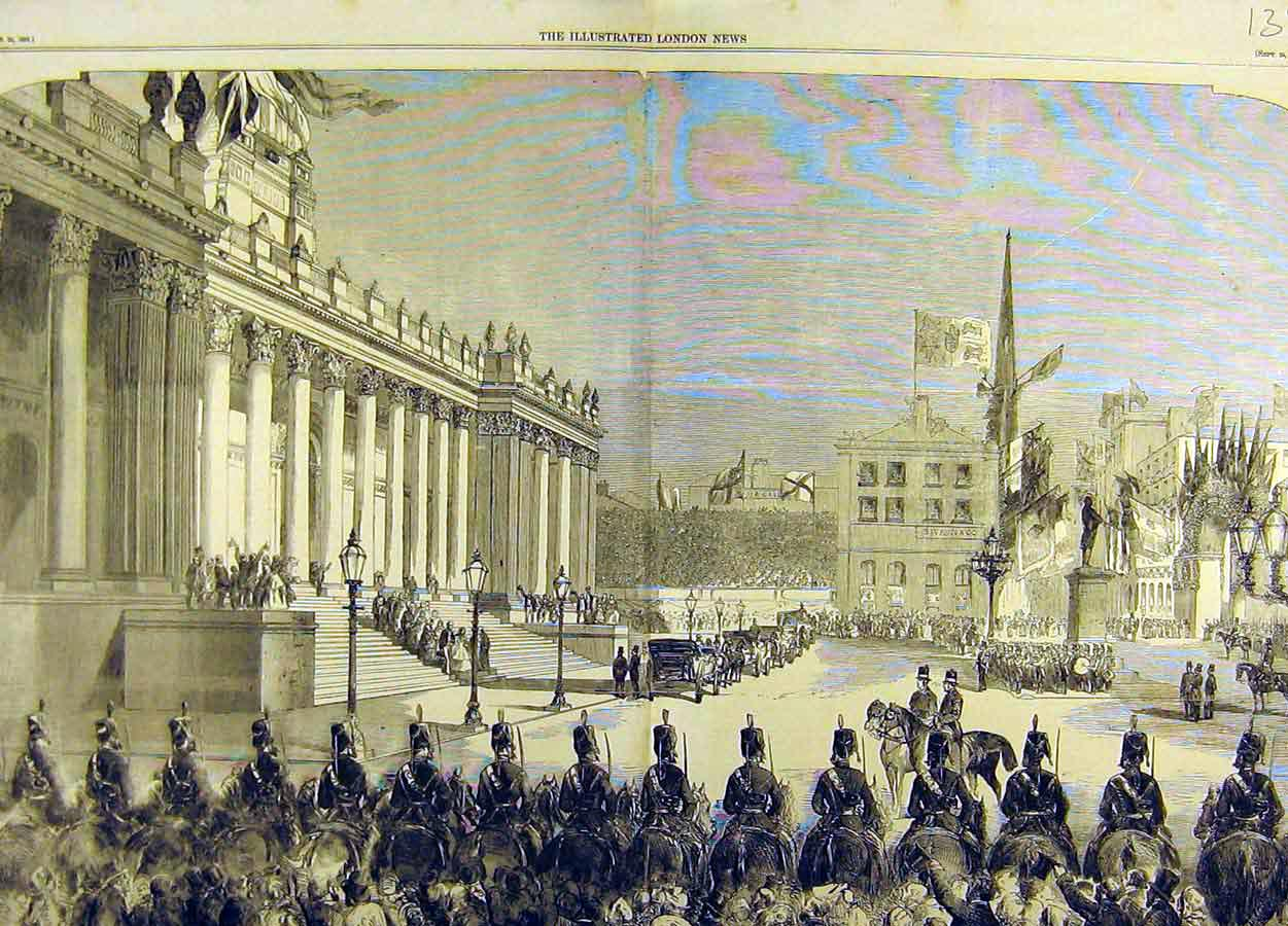 Print 1858 Queen Visit Leeds Townhall Procession Royal 38T8711 Old Original