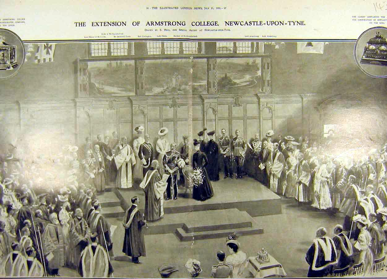 Print 1906 Queen Victoria Statue Newcastle Armstrong College 43T8711 Old Original