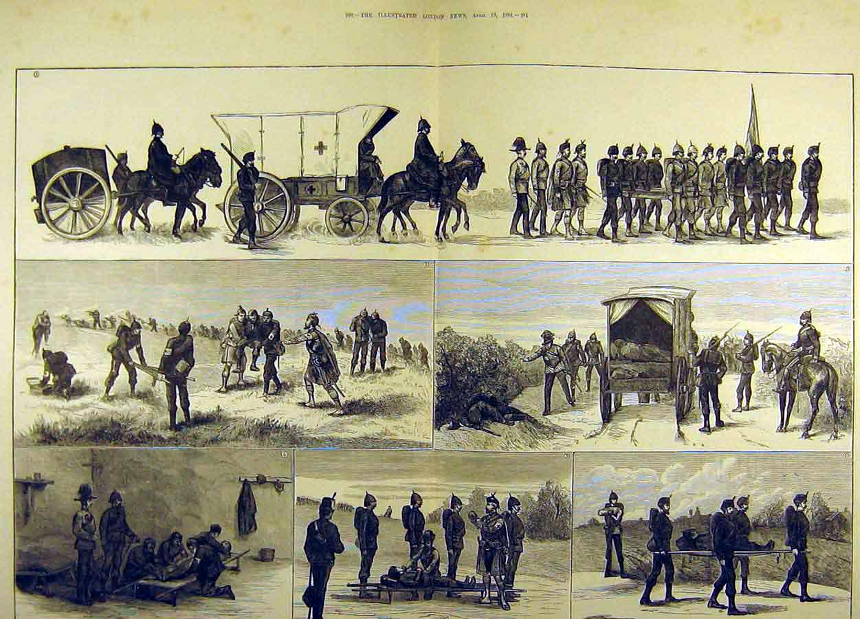 Print 1881 Easter Volunteer Manouvres Ambulance Corps 61T8711 Old Original