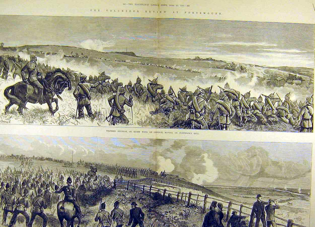 Print 1883 Brighton Review Battlefield View Balloon Troops 66T8711 Old Original