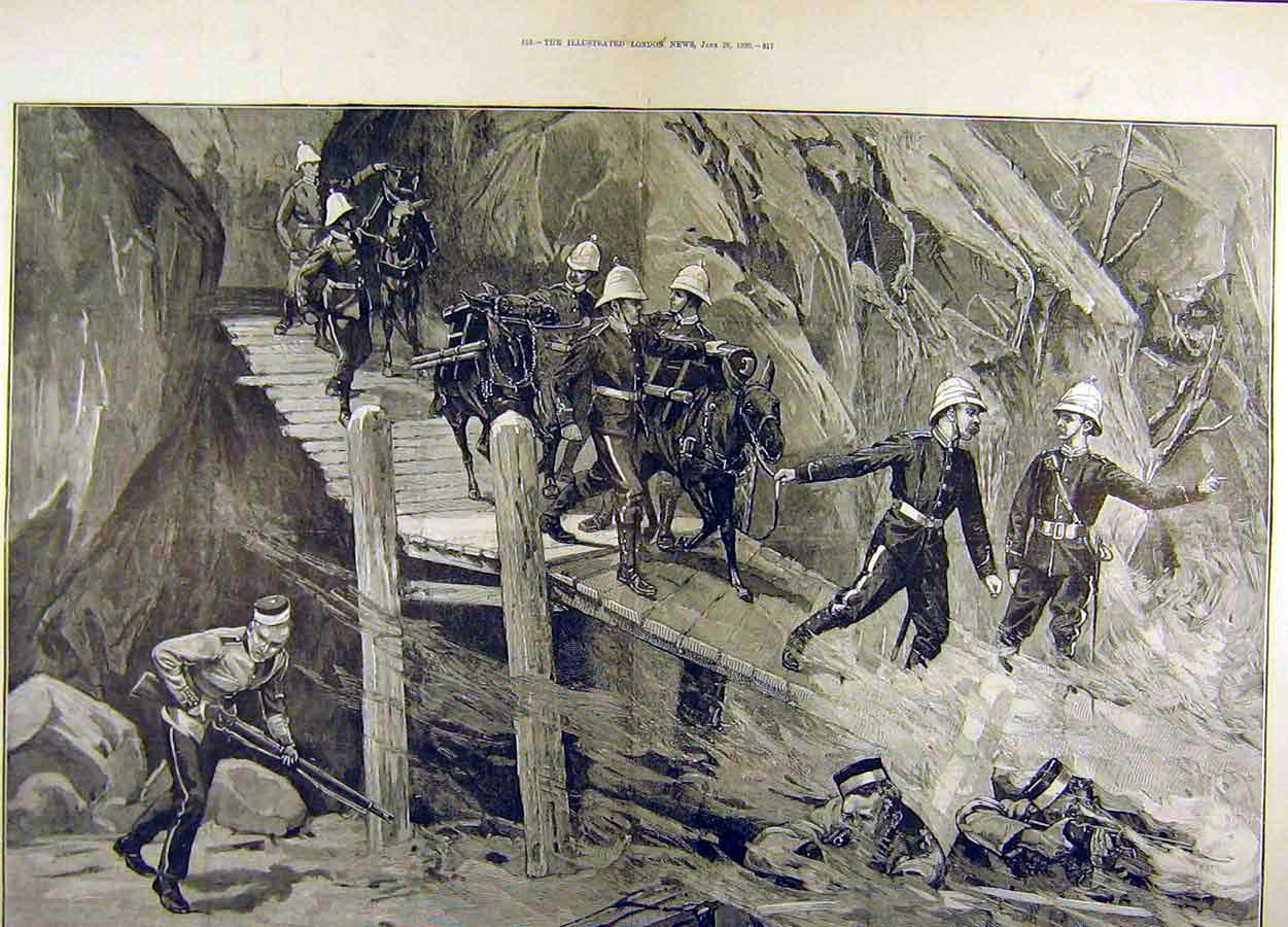 Print 1890 Military Tournament Mountain Pass Battery Troops 68T8711 Old Original