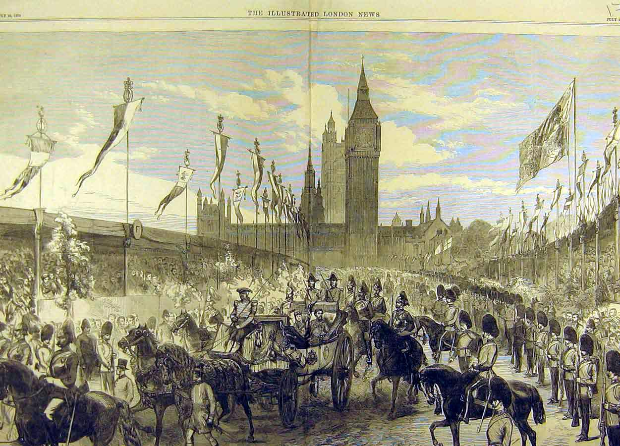 Print 1870 Opening Thames Embankment Royal Procession 72T8711 Old Original