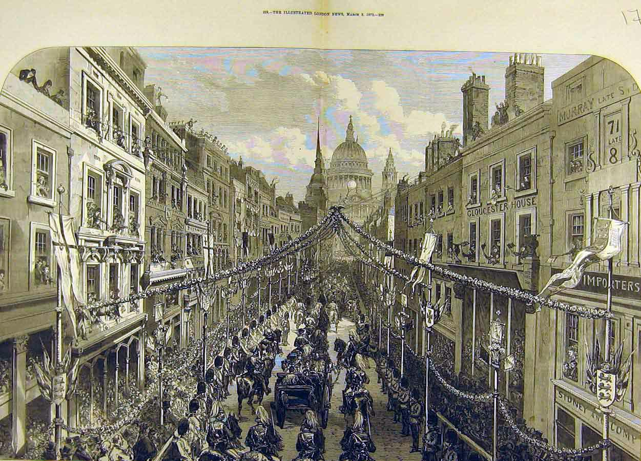 Print 1872 Thanksgiving Day Procession Ludgate Hill 74T8711 Old Original