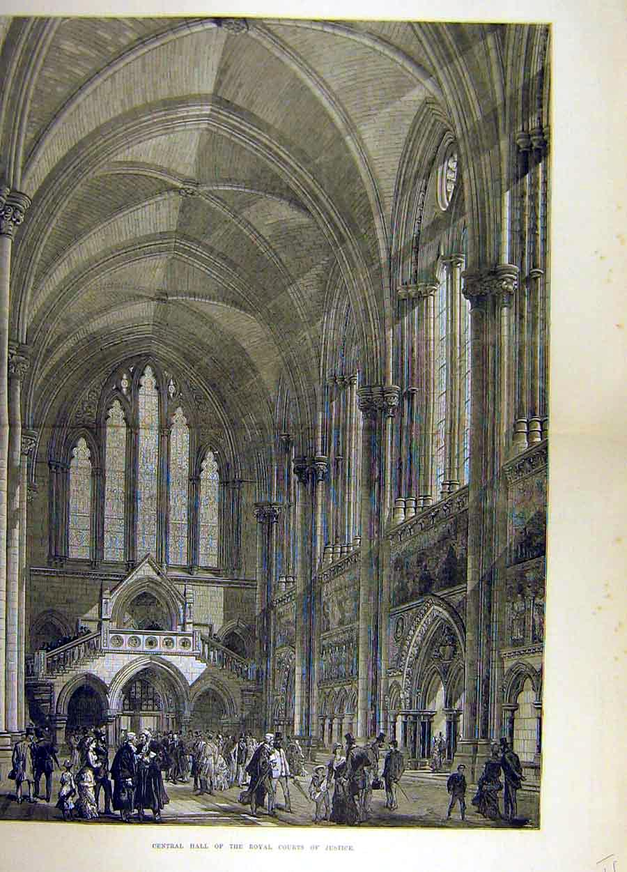 Print 1882 Central Hall Royal Courts Justice Interior 78T8711 Old Original
